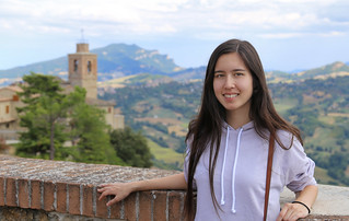 Samantha on the hilltop of Montefalcone