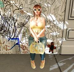 I <3 Unicorns (Serena Reins) Tags: confession pose poses pictures pic secondlife catwa uma maitreya tentacio unicorn sunglasses sneakers purse graffiti backdrop minimal jeans crop top wings