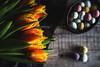 Spring is Here! (Janet_Broughton) Tags: lensbaby velvet85 tulips eggs minieggs easter still life