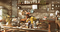 Sunny Sunday baking (NatG loving the light) Tags: deaddollz mudhoney tableauvivant ysys dustbunny fameshed pocketgacha nutmeg secondlife virtual avatar home deco