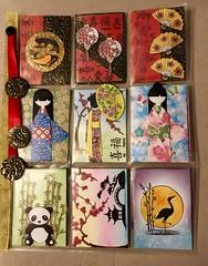 Oriental pocket letter for a swap (CraftyBev) Tags: fish koicarp panda bamboo lanterns fans origamidolls waxing embossing inking stamping oriental atc's pocketletterswap