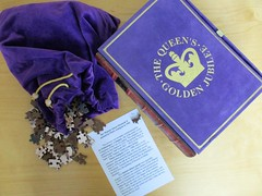 The Queen's Golden Jubilee (pefkosmad) Tags: jigsaw puzzle hobby leisure pastime wood limitededition complete used secondhand wentworth bespoke queenelizabethii goldenjubilee jubilee box packaging luxury whimsies figurals thequeen annigoni painting art fineart velvet purple royal royalty sovereign monarch pietroannigoni hermajestyqueenelizabethii wentworthwoodenpuzzles lasercut traditional meditepremiertm theartofthewoodenjigsawpuzzle bookstylebox fauxbookbox costlessthan£25includingpostage