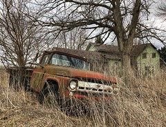 it's a girl my lord in a flatbed ford...(abandoned ford truck at 3 day weekend house) (Aces & Eights Photography) Tags: abandoned abandonment decay ruraldecay oldhouse abandonedhouse oldtruck abandonedtruck takeiteasy theeagles
