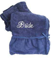 Shower Wrap with Flirty Flounce - Navy (initial_impressions) Tags: embroidered personalized ladiesshowerwrapwithflirtyflounce bride weddingdayprep navyrobe