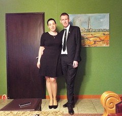 Ready to Celebrate St Patrick's Day (sean and nina) Tags: couple married husband wife happy smile smiling pose posed posing st saint patricks day ireland eire irish eireann two people persons man woman female male dress suit black legs high heels indoors inside serb croatia hrvatska eu europe european house dressed up tie dark hair brunette arms face sean nina beauty beautiful gorgeous stunning charm charming cute tall handsome