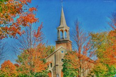 Church in the Fall (Anton Shomali - Thank you for over 1 million views) Tags: kankakeecounty kankakee bradley church fall churchinthefall maternity blessed virgin mary bourbonnais illinois blue sky clouds cross pray praying faith god colors green red yellow nature season art light
