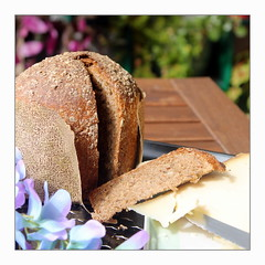 Tourelle vitalité (overthemoon) Tags: utata:project=breadculture utata:project=ip261 utatawpbreadculture ip ironphotographer 261 square frame outside bread tourellevitalité turretshape brownbread cheese gruyère knife table plants wisteria artificialflowers spring