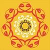 Lotus flower on saffron (them_cairo_doors) Tags: doublewaaw arabic arabicscript hindu muslim syncretism sriyantra lotusflower tilaka vermillion safron sufi sufism waw waaw