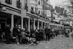Pantiles, Tunbridge Wells (aquanout) Tags: kent ilford film 35mm olympus trip analogue blackandwhite monochrome