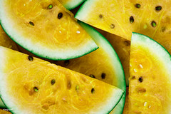 Slices of juicy yellow watermelon (rawpixel.com) Tags: background bright closeup delicious dessert diet energy food fresh freshness fruit healthy ingredient juicy macro melon name natural nature nutrition nutritious organic pattern raw refreshment ripe season seasonal seasonalfood seed slice summer summertime sweet taste tasty texture textured tropical vitamin wallpaper watermelon watermelonbackground watermelonslice yellow yummy