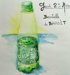 Bouteille d'eau. (cecile_halbert) Tags: dessin carnet croquis bouteille bottle badoit eau aquarelle watercolor pencil crayon journal journaling artjournal sketch sketching sketchbook stilllife drawing painting