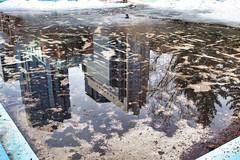 Ice reflection (Matthew P Sharp) Tags: calgary spring ice reflection luminarneptune luminar building water