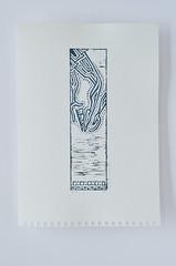 Victory Adjusts Her Sandal - Blueish AP (them_cairo_doors) Tags: greek ancientgreece copywork art reliefprint gouache woodcut gomuban printing carving
