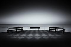 Experiment (mpdfoto) Tags: experiment benches sea ocean coast bw blackwhite