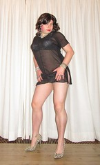 cougar print lingerie visible through little black dress (Barb78ara) Tags: lbd littleblackdress seethrough seethroughdress cougarprint cougarpumps cougarprintlingerie highheels anklet qosanklet barelegs hotlegs tgirl crossdresser