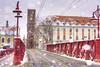 Red Bridge (Cat Girl 007) Tags: wroclaw landmark island architecture odra piaskowy street red poland europe lantern cathedral bridge redbridge building river urban travel most sand gothic tourism city breslau transportation oder old cityscape church lamp streetlight medieval neogothic landscape famous historical polish attraction snow winter lowersilesia