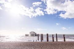 The perfect backdrop: West Pier, Brighton (Zoë Power) Tags: westpier beach uk brighton derelict blueskies coast sea seaside