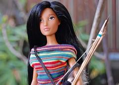 Matoaka (Emily1957) Tags: matoaka bowandarrow disney barbie 2010 barbiedisneystoreexclusive dolls doll light naturallight availablelight nikond40 nikon kitlens pocahontas nativeamericandoll