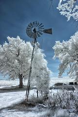 Alabaster (danielgweidner) Tags: abandoned architecture convertedir country eos50d farm ir infrared landscape nebraska rural alabster white windmill glow translucent