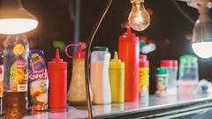street food stand (Bernal Saborio G. (berkuspic)) Tags: fooud sauce ketchup mustard dressing fair streetfood