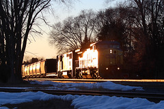 """That """"Sunset Route"""" time of year (view2share) Tags: deansauvola rr railway railroad railroading rails railroaders rail rring railroads rrcar track trains transportation train tracks transport trackage trees travel march 2018 march2018 march242018 cn canadiannational cold cn516 cnl516 l516 snow snowfall spring springtime freight freighttrain freightcar freightcars minneapolissub wisconsin wi eastbound stcroixcounty newrichmond"""