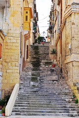 Malta Streets (Douguerreotype) Tags: stairs city street steps balcony buildings malta architecture urban