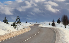 Road Through The Snow (Jonny Hirons) Tags: road trees windingroad snow cold scotland landscape drifts snowdrifts snowploughed openroad