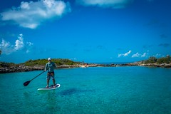 Andrew enjoying some SUP time in Allan's Cay.