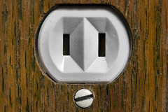 Groundless -[ HMM ]- (Carbon Arc) Tags: macromondays backintheday outlet receptacle socket plug electric power nema115r two prong no earth ground obsolete unsafe old pareidolia woodgrain wood plate cover oak