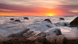 Sunrise at sea.