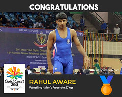 Rahul Aware wins gold at gold coast cwg 2018 (Cloudy4u) Tags: 2018 commonwealthgames goldcoast goldmedal india mensfreestyle rahulaware wrestling