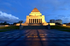 Shrine of Remembrance evening (NettyA) Tags: clouds building path reflections light night evening shrineofremembrance australia victoria melbourne