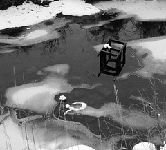 urbanGeometry (blancopix) Tags: icy river refuse chair geometry urban discards bw