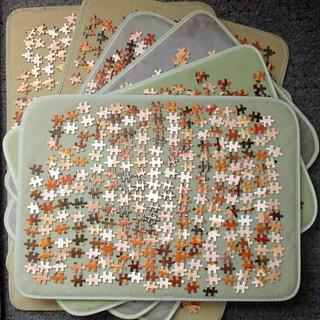 Brueghel puzzle progress report [six boards of pieces]