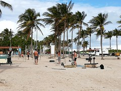 We were expecting big beefy hard bodies at Miami Beach.  Instead it was super lean guys doing core workouts.