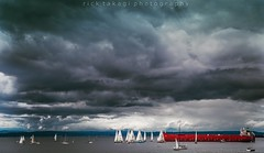 Beautiful day in Seattle. (Rick Takagi) Tags: northwest clouds sky water boats ships sailing sailboat sound puget seattle d5 nikon