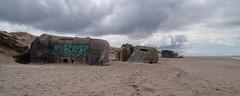 Bunkers lined up (Steenjep) Tags: houvig vesterhav northsea beach strand sun sol sky cloud himmel wave bølge bunker wwii concrete beton forfald decay grafitti light lys dark wet klam remain