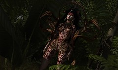 Tribalistic Nature (テイラー) Tags: secondlife curemore cureless moonamore boystothebone genesislab skyestudio littlebranch thefantasygachacarnival tgc tribal nature outside hunting staff tattoo headpiece halo mesh taylorwassep