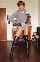 Karen (Karen Maris) Tags: boots redhead legs heels tg tgirl tgurl tranny trannie transsexual transvestite transgender karen sheer crossdress crossdresser