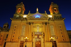 Basilica Of Our Lady Of Victories (Douguerreotype) Tags: church city dark night symmetry buildings malta architecture urban