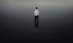 Equanimity (fehlfarben_bine) Tags: nikond800 sigmaart500mmf14 portrait man lake water berlin monochrome contrast sunlight reflections mood silence serenity