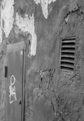 Wall with door (virre) Tags: urban black white fragments blackandwhite door
