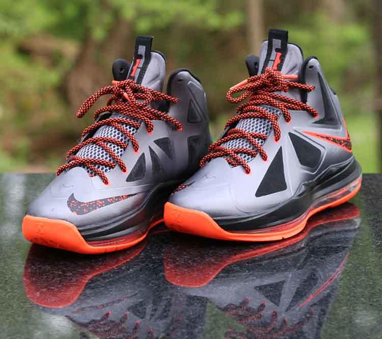 212f7844951 Nike LeBron X 10 GS Lava 543564-002 Charcoal Total Orange Black Size 5Y (