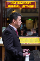 Dim Sum Daily (Silver Machine) Tags: london chinatown restaurant man keyboard music streetphotography street candid blindman dimsum suit standing streetmusician fujifilm fujifilmxt10 fujinonxf35mmf2rwr