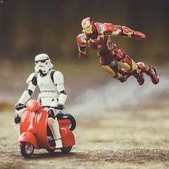 Suit Brothers (Jezbags) Tags: stormtrooper ironman ride fly starwars marvel bike flying toy toys macro macrophotography macrodreams canon canon80d 80d 100mm closeup avengers