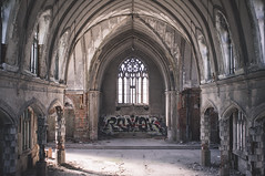 dayspring.to.the.dimness (jonathancastellino) Tags: abandoned derelict decay ruin wreck ruins detroit church graffiti light hopkins quote arch