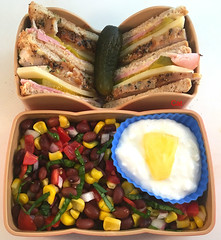 Cuban Tea Sandwich Bento (Cathryn3) Tags: bento lunch sandwich salad cuban bread ham pork swisscheese pickle beans corn onion basil