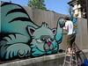 Hobz : création en cours le dimanche 6 mai 2018 à Paris 17ème. (Archi & Philou) Tags: hobz streetart murpeint paintedwall palissade paris17 crèche travailencours wip workinprogress échelle ladder chat souris bleu