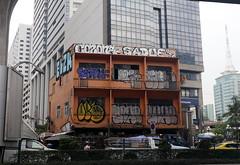 graffiti on a building across the street (_gem_) Tags: trip vacation holiday bangkok thailand city street urban architecture building design graffiti streetart ratchathewi