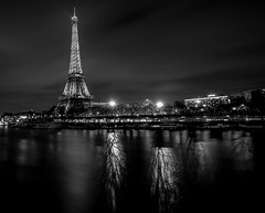 paris (joboss83) Tags: paris bw landscape paysage fleuve river rivière fuji france nuit night eau bateau bot tour eiffel pose longue long exposure xt1 monument architecture monochrome